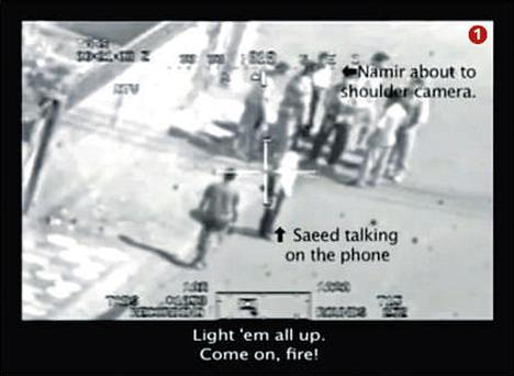 A group of men, including Reuters journalists Namir Noor-Eldeen and Saeed Chmagh, are incorrectly identified as insurgents. Captions below images 1 and 2 are the words spoken by US soldiers.
