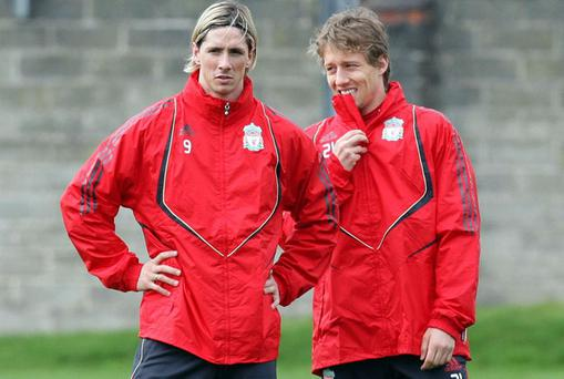 Fernando Torres (left) and Lucas Leiva during a training session at Melwood Training Ground. Photo: PA