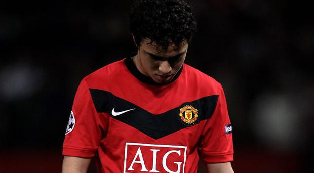 The sending off of Brazilian defender Rafael spelled the death knell for Manchester United in Europe this season. Photo: Getty Images