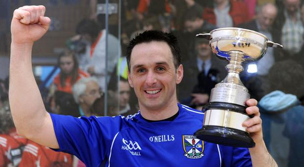 Paul Brady celebrates after winning the All-Ireland Senior Singles Handball Championship for a record-equalling sixth time in a row.