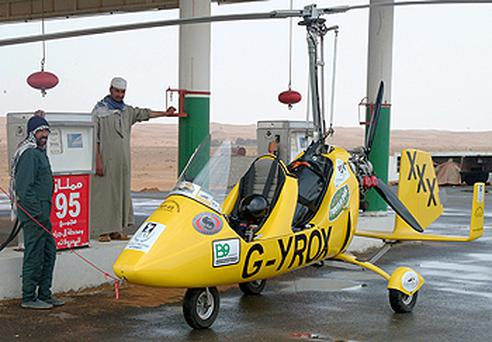 Norman Surplus landed his gyrocopter near a garage in the desert of Saudi Arabia because of an impending storm. Photo: PA