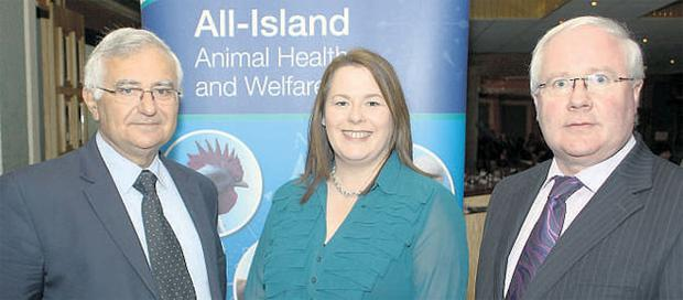 TOP BRASS: Minister Brendan Smith (right) joins EU Commissioner for Health and Consumer Policy John Dalli (left) and Northern Ireland Agriculture Minister Michelle Gildernew MLA at the All-Island Animal Health and Welfare conference in Co Cavan yesterday.