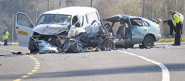 The scene of the fatal N7 crash in Co Laois yesterday. Photo: James Flynn/AP