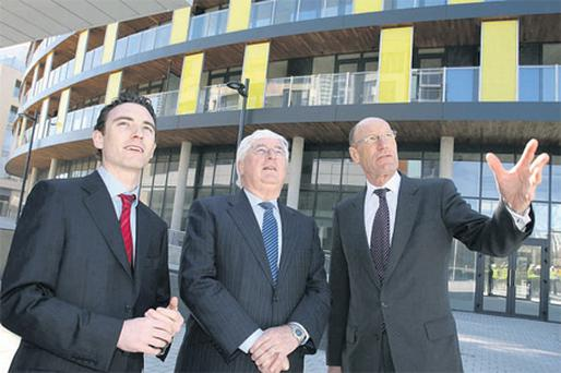 At the announcement yesterday by a senior delegation from the Olympic Delivery Authority (ODA) were from left: Darragh Elliott, UK director, P Elliotts; Enterprise, Trade and Innovation Minister Batt O'Keeffe, and John Armitt, chairman, Olympic Delivery Authority