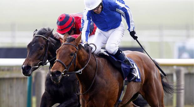Kieren Fallon drives the Mick Channon-trained Music Show to victory in the Group 3 Nell Gwyn Stakes at Newmarket yesterday. Photo: PA