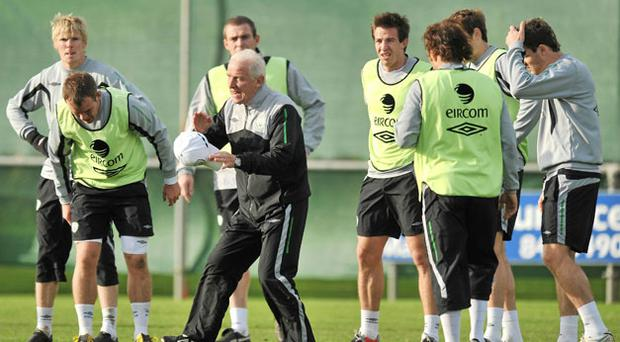 Republic of Ireland manager Giovanni Trapattoni talks to his players during a training session in Gannon Park, Malahide last November. DAVID MAHER/SPORTSFILE