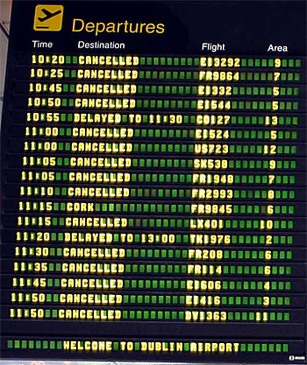 The flight information board at Dublin Airport today. Photo: Colin O'Riordan