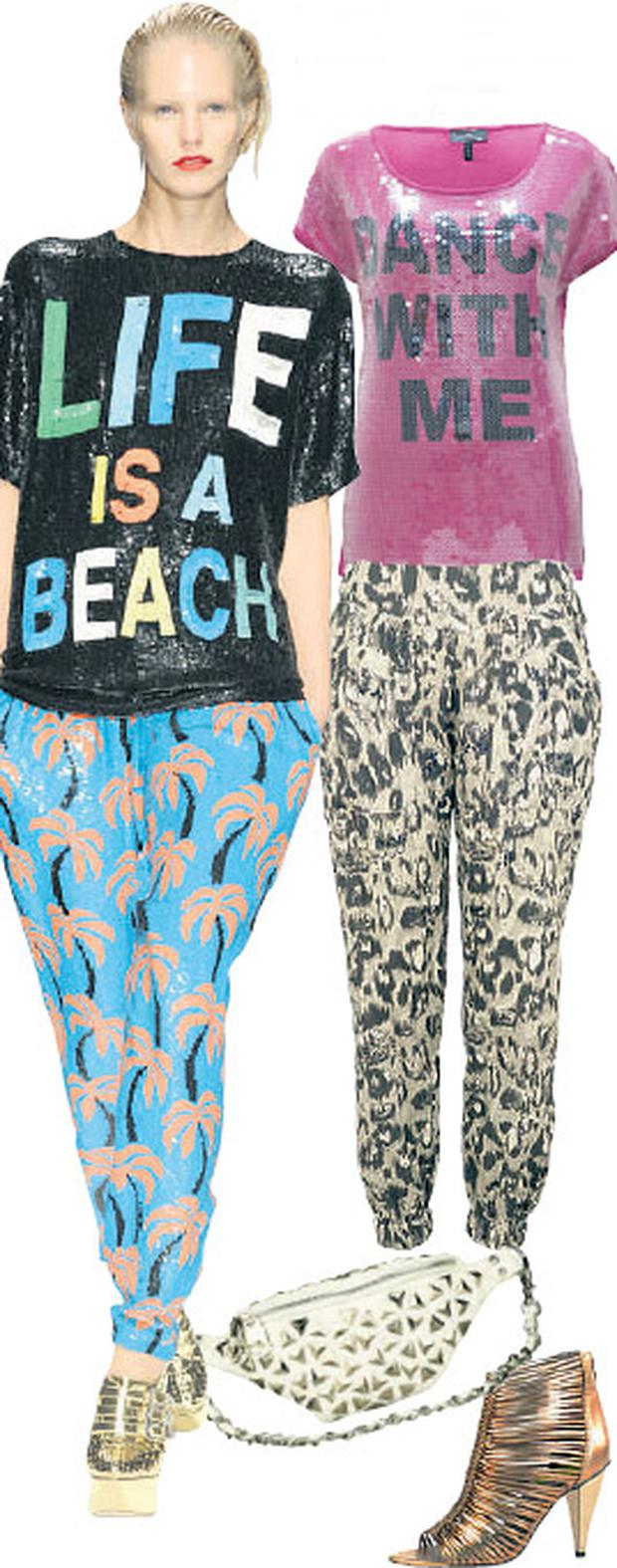 Sequin top, €54; animal-print trousers, €33.50; bumbag, €33.50; and gold heels, €67, all at River Island