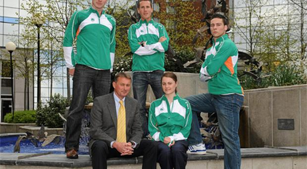 Performance consultant Chris Jones with athletes Jamie Costin, David Campbell, Ciara Mageean and Brian Greegan at the launch of the Athletics Ireland High Performance Plan in Dublin yesterday