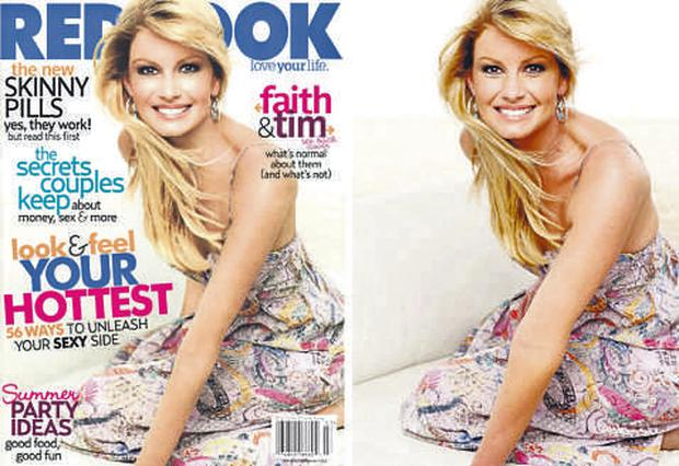 The retouched and original shots of Faith Hill for Redbook magazine