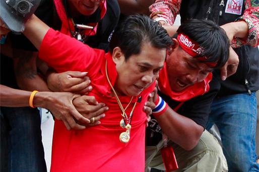 RED SHIRT: Protest leader Arisman Pongruangrong