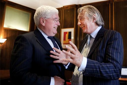 'TIME TO LEAVE ASIDE THE DOOM': Minister for Enterprise Batt O'Keeffe with 'Sunday Independent' Editor Aengus Fanning