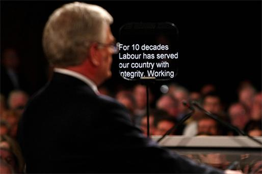 Labour leader Eamon Gilmore is framed against his teleprompter at the party's conference at the National University of Ireland campus in Galway at the weekend