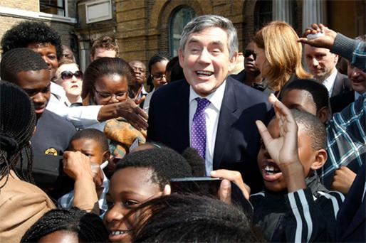 British PM Gordon Brown outside Wesley's Chapel, London, yesterday