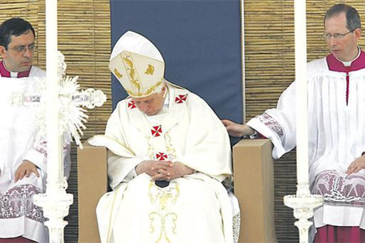 During his visit to Malta yesterday, the Pontiff looked exhausted as he momentarily fell asleep during Mass