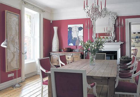 The table in the dining room was made by Martin O'Neill. The mirror is from Eclectic Interiors and the dresser came from the Royal Oak Auction House