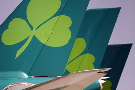 Aer Lingus jets lined up at Dublin Airport yesterday