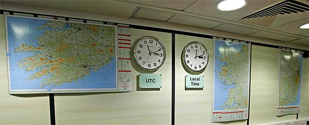 Maps on the wall of the National Emergency Co-ordinating Centre. Photo: PA