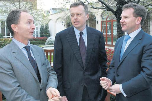 The Financial Regulator, Matthew Elderfield (centre), addressed the IBEC Financial Services Ireland (FSI) banking conference yesterday, held in the Four Seasons Hotel in Ballsbridge, Dublin 4, on the future of the banking sector. Also at the event were Fergus Murphy, chief executive of building society EBS (left), and IBEC director general Danny McCoy