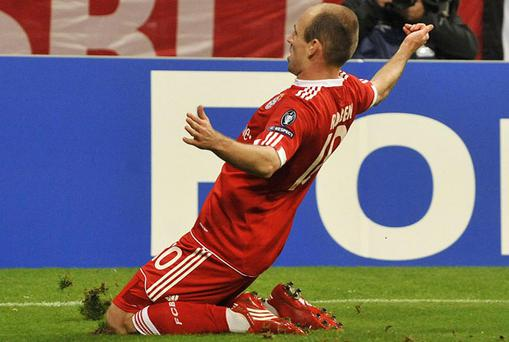 Arjen Robben celebrates scoring against Lyon. Photo: Getty Images