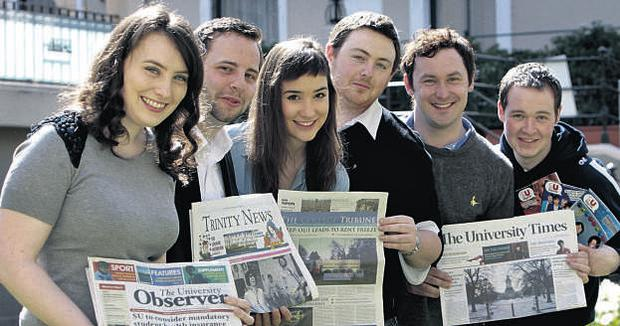 Caitriona Laverty (left) of the UCD's 'University Observer' was named Editor of the Year at the 10th anniversary Oxygen.ie National Student Media Awards last night. Pictured with her are runner-ups David Molloy of TCD's 'Trinity News', Cathy Buckmaster and Philip Connolly of UCD's 'The College Tribune', Robert Donohoe of TCD's 'The University Times' and Gareth McGreevy, from the students' union of Queen's University, Belfast