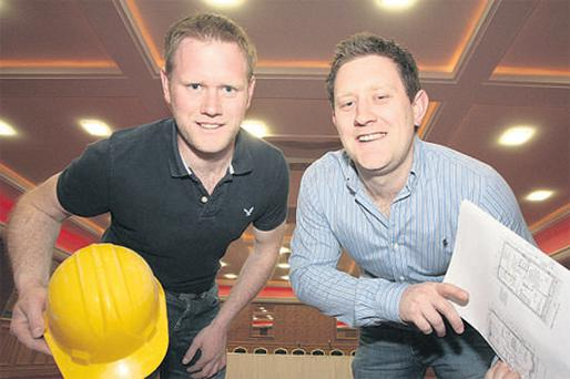 Bernard and Richard Fitzmaurice of B&G Construction, Station Rd, Portmarnock, in the newly refurbished ballroom of The Portmarnock Hotel & Golf Links