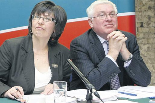 Revenue commissioners Josephine Feehily and Liam Irwin at the launch of the Revenue Commissioners annual report at Dublin Castle yesterday