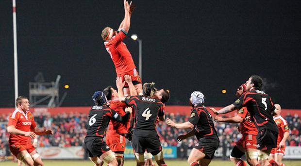 Mick O'Driscoll takes the ball in typical fashion at a lineout against Edinburgh at Musgrave Park.