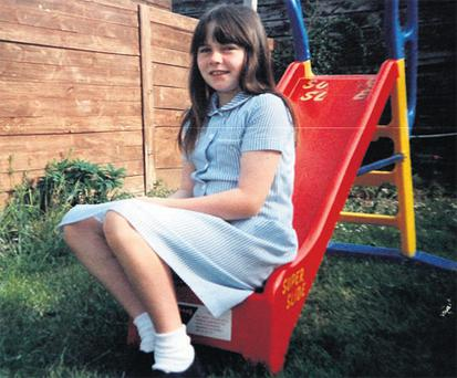 Tracey Fay, aged 12, in the back garden of her home, before she entered her tumultuous and tragic teens