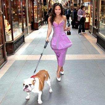Myleene Klass posed with a British bulldog ahead of the Classical Brits