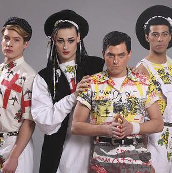 Stars of the BBC's Culture Club drama Roy Hay (Jonny Burt), Boy George (Douglas Booth), Jon Moss (Mathew Horne), Mikey Craig (Dean Fagan)
