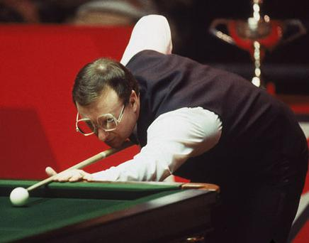 Twenty-five years to the day from the match Taylor won on the black in the early hours, he and Davis mocked each other relentlessly during a light-hearted re-run of the most famous frame in the history of snooker. Photo: Getty Images