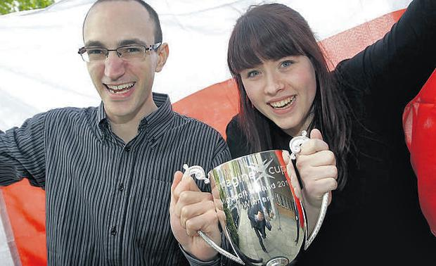 Marco Castorina and Nicola Nevin with the Irish Imagine cup