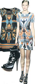 Printed dress, €40 and fringed shoe, €100.50, both at River Island