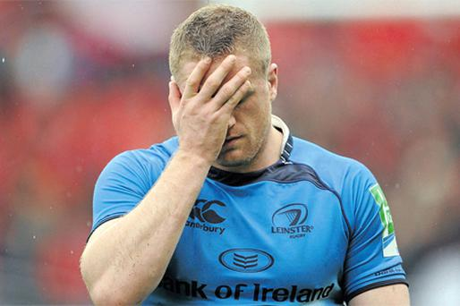 Jamie Heaslip, who scored Leinster's only try in yesterday's Heineken Cup semi-final loss to Toulouse, is dejected after the final whistle