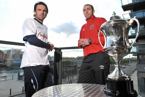 Rival captains Stuart Byrne (left) and Owen Heary will do battle for the right to lift the Setanta Sports Cup at Tallaght stadium tomorrow evening. DAVID MAHER / SPORTSFILE