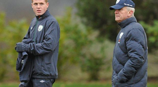 Republic of Ireland manager Giovanni Trapattoni with James McCarthy during training in February. The Wigan midfielder will be part of Ireland's training panel which gathers in Malahide this weekend. DAVID MAHER / SPORTSFILE