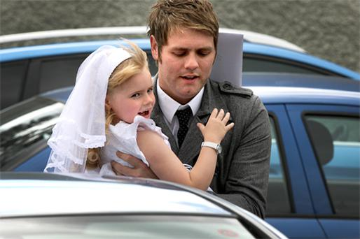 PROUD DAD: Brian McFadden with his daughter Lilly-Sue yesterday