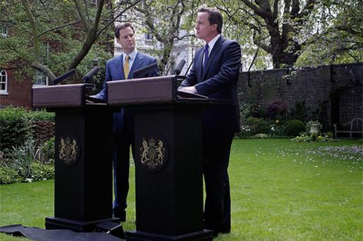 HONEYMOON PERIOD: Some unkind observers suggested last week's Cameron-Clegg press conference resembled a posh gay wedding reception in Islington