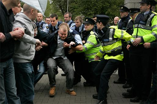 DEMONSTRATIONS: Gardai and anti-NAMA protestors clash outside the Anglo Irish Bank headquarters on St Stephens Green, Dublin, yesterday