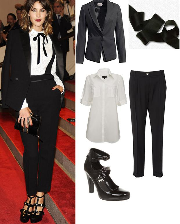 Otis tailored jacket from Reiss; Oversized shirt from Warehouse; Slouchy crop trousers; Black ribbon from Hickeys; Shoes from Office.