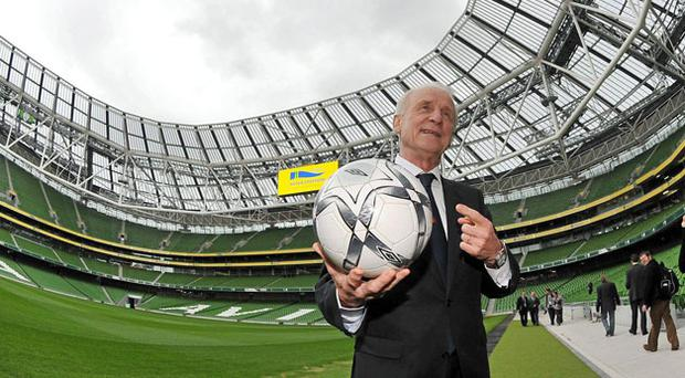 Republic of Ireland manager Giovanni Trapattoni at the official opening of the new Aviva Stadium last week. BRIAN LAWLESS / SPORTSFILE