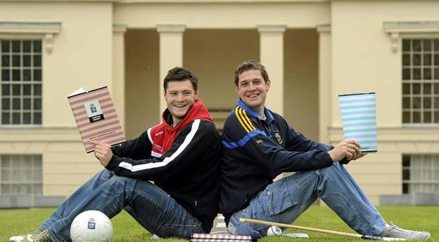 Down footballer Marty Clarke (left) and Tipperary hurler Seamus Callanan at the launch of www.esbexampass.ie, which is designed to help minor players prepare for their exams. STEPHEN McCARTHY / SPORTSFILE