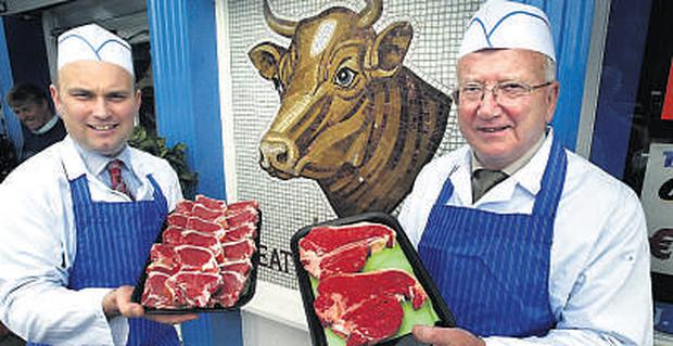 John Fahey, left, and his uncle Willie Smyth at J.W. Smyth Family Butchers, Portmarnock, North Co. Dublin. 'The value added stuff has really saved us in this recession. From a starting point of zero, it'd already beup to 30pc of sales'.