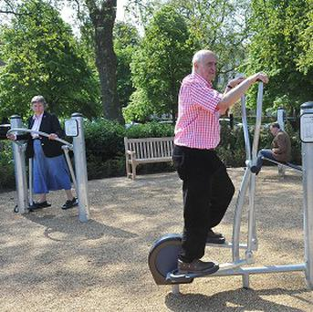 Pensioners using the exercise equipment at the Hyde Park playground