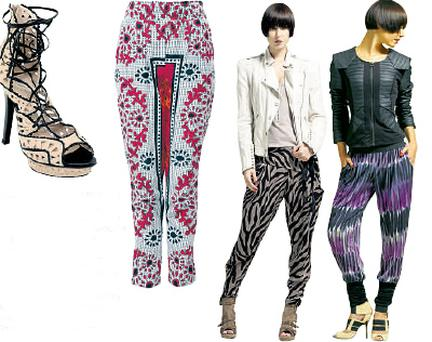 Shoes, €100.50, River Island Printed red harem pants, €62.50 ASOS Africa, asos.com ''80s biker jacket €67, hookand- eye vest €17.50, Chrissyharems €40, Heline shoe boots €67, all River Island Gaga jacket €175, Anya Stripe trousers €40, Viva boots €80.50, River Island