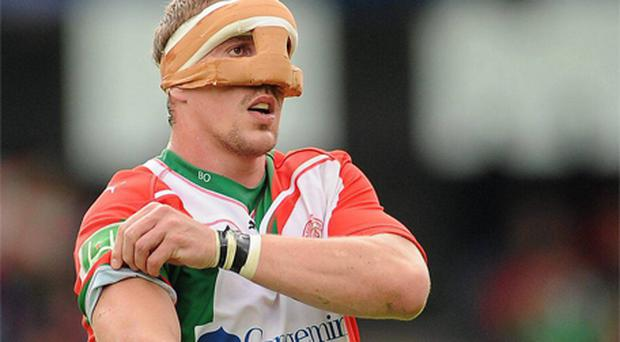 Biarritz captain Imanol Harinordoquy wearing a mask during his side's defeat of Munster in the semi-finals of the Heineken Cup