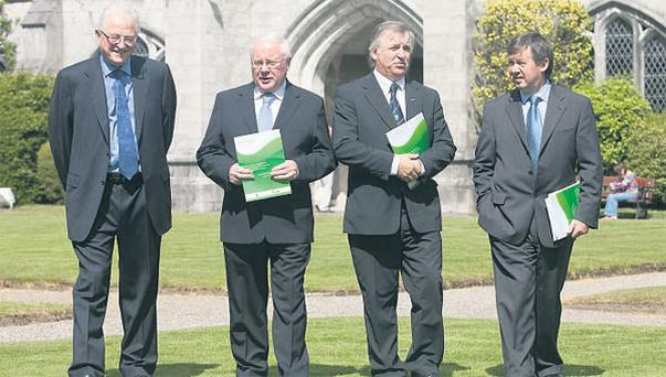 DISCUSSING STRATEGY: (from left) Alliance chairman Professor Michael Dowling, Minister for Agriculture Brendan Smith, Teagasc director professor Gerry Boyle and UCC president Dr Michael Murphy have a chat at the launch of the University College Cork/Teagasc Stategic Alliance in food research.