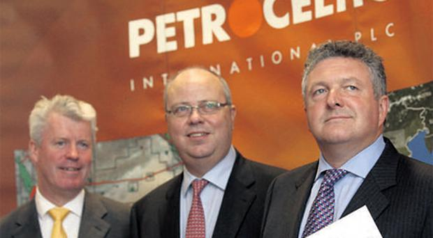 At the Petroceltic International AGM yesterday in the Herbert Park Hotel, Dublin, were finance director Alan McGettigan, chairman Robert Arnott and chief executive Brian O'Cathain