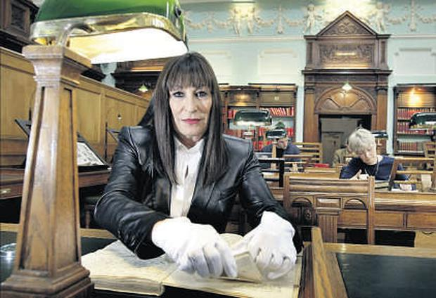 Actress Anjelica Huston at the National Library yesterday to view its WB Yeats collection. She is visiting Ireland to open the Library's annual Summer's Wreath festival, a celebration of the poet and playwright.